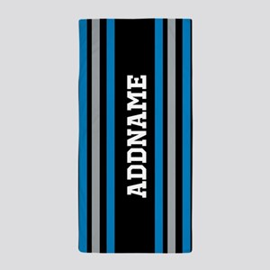 Black Blue White Silver Stripes Beach Towel