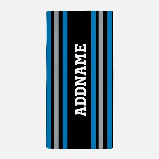 Black Blue White Silver Stripes Beach Towel