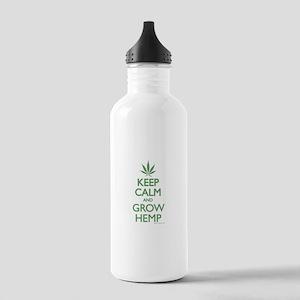 Keep Calm and Grow Hemp - Green Water Bottle