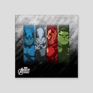 "Four Avengers Square Sticker 3"" x 3"""