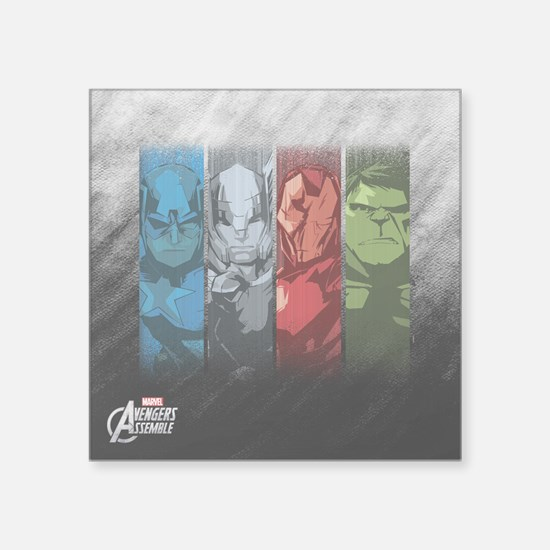 "Four Avengers Square Sticker 3"" x 3"""