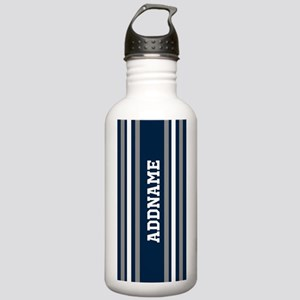 Blue White Silver Stri Stainless Water Bottle 1.0L