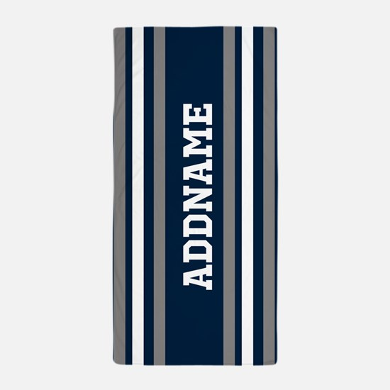 Blue White Silver Stripes Custom Beach Towel