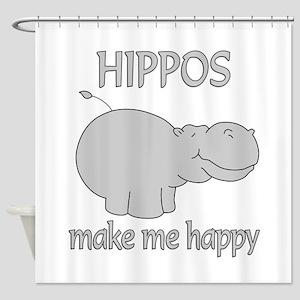Hippo Happy Shower Curtain