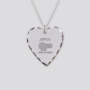Hippo Happy Necklace Heart Charm