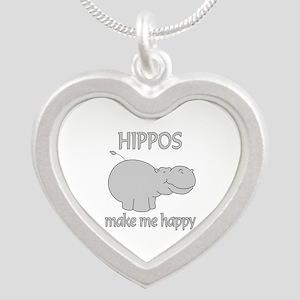 Hippo Happy Silver Heart Necklace