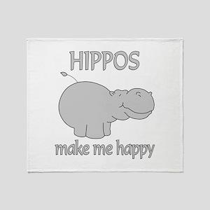 Hippo Happy Throw Blanket