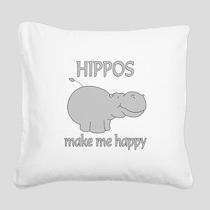 Hippo Happy Square Canvas Pillow