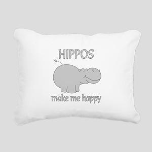 Hippo Happy Rectangular Canvas Pillow