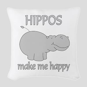 Hippo Happy Woven Throw Pillow