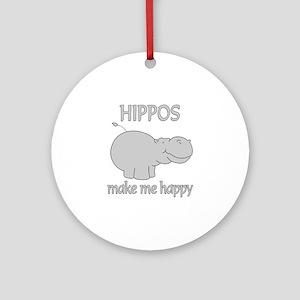 Hippo Happy Ornament (Round)