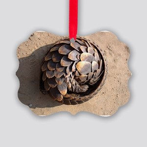 curled up pangolin Picture Ornament