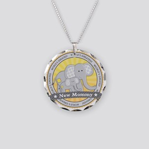 New Mom Elephant Necklace Circle Charm