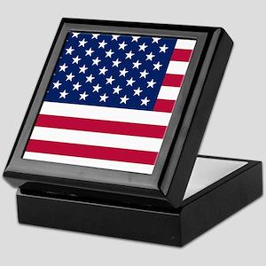 Patriotic American Flag Keepsake Box