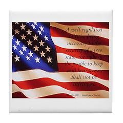 Patriotic Second Amendment Tile Coaster