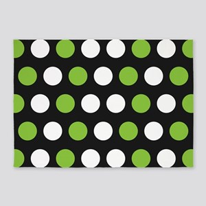 Green And White Polka Dots 5'x7'Area Rug