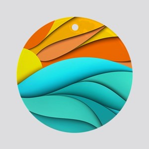 Abstract Ocean Sunset Ornament (Round)