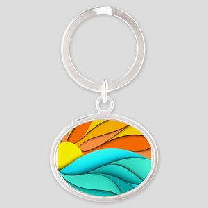 Abstract Ocean Sunset Oval Keychain