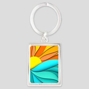 Abstract Ocean Sunset Portrait Keychain