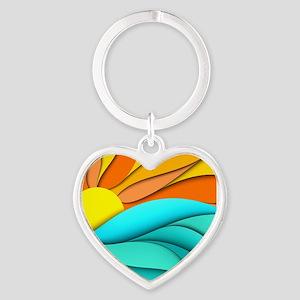Abstract Ocean Sunset Heart Keychain