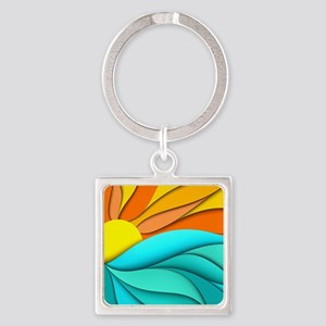 Abstract Ocean Sunset Square Keychain