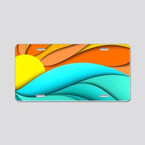Abstract Ocean Sunset Aluminum License Plate