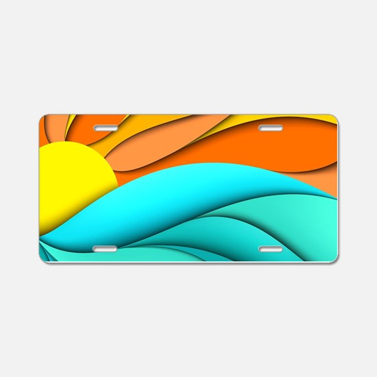 Abstract Ocean Sunset Aluminum License Plate