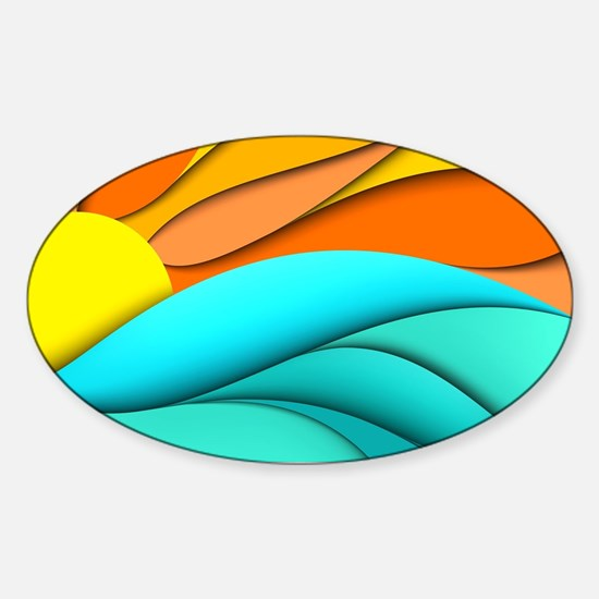 Abstract Ocean Sunset Sticker (Oval)