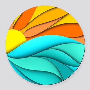 Abstract Ocean Sunset Round Car Magnet