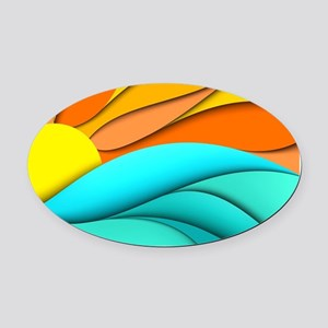 Abstract Ocean Sunset Oval Car Magnet
