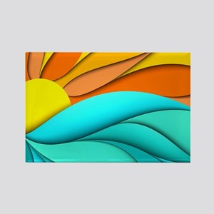 Abstract Ocean Sunset Rectangle Magnet