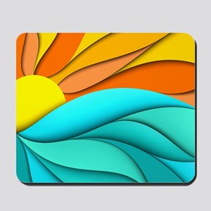 Abstract Ocean Sunset Mousepad