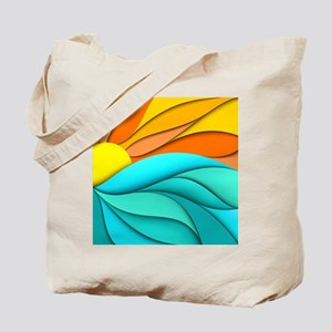 Abstract Ocean Sunset Tote Bag