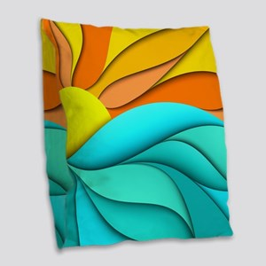 Abstract Ocean Sunset Burlap Throw Pillow