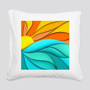 Abstract Ocean Sunset Square Canvas Pillow