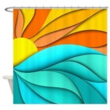 Abstract ocean sunset Shower Curtains