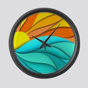 Abstract Ocean Sunset Large Wall Clock
