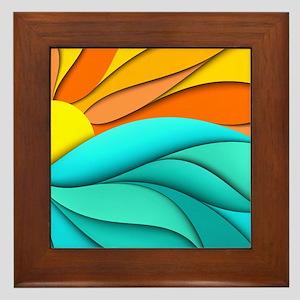 Abstract Ocean Sunset Framed Tile