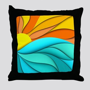 Abstract Ocean Sunset Throw Pillow