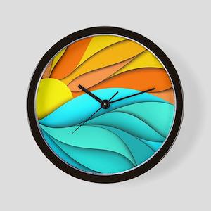 Abstract Ocean Sunset Wall Clock
