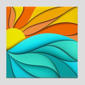 Abstract Ocean Sunset Tile Coaster