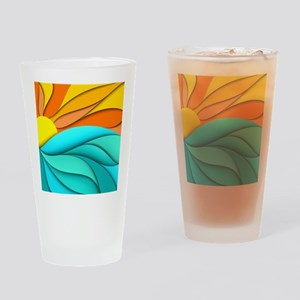 Abstract Ocean Sunset Drinking Glass