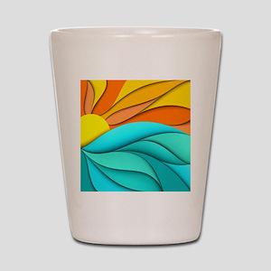Abstract Ocean Sunset Shot Glass
