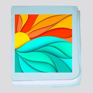 Abstract Ocean Sunset baby blanket