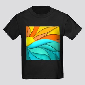 Abstract Ocean Sunset Kids Dark T-Shirt