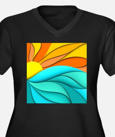 Abstract Oce Women's Plus Size V-Neck Dark T-Shirt