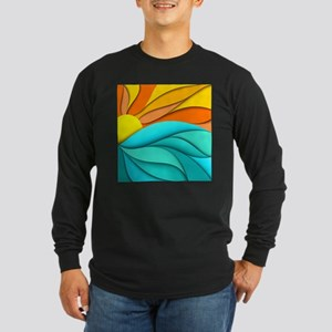Abstract Ocean Sunset Long Sleeve Dark T-Shirt