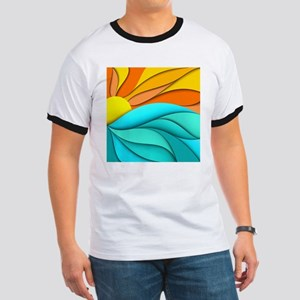 Abstract Ocean Sunset Ringer T