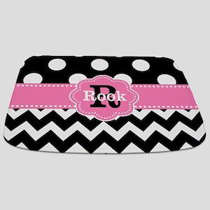 Black Pink Dots Chevron Personalized Bathmat