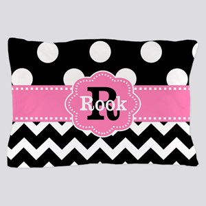 Black Pink Dots Chevron Personalized Pillow Case